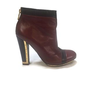 BCBGMaxAzria Burgundy Booties with Gold Detailing